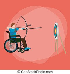 Disabled people On Wheelchair aims and shoots a bow, disability sport