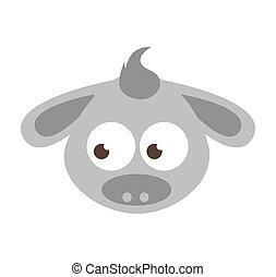 cute cartoon donkey icon