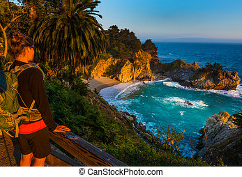 Tourist looking at McWay Falls Big Sur California - McWay...