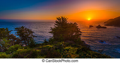 Sunset Landscape California Big Sur - McWay Rock at Sunset...