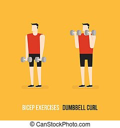 Bicep Exercises Dumbbell Curl Flat Design Bodybuilder...