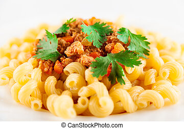 Pasta Bolognese Closeup - Pasta served with bolognese sauce...