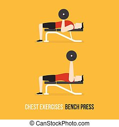 Chest Exercises. Bench Press. Flat Design Bodybuilder...