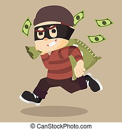 thief running carrying bag of money