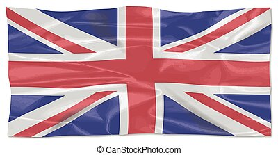 Fluttering Silk Union Jack - The British Union Jack flag...