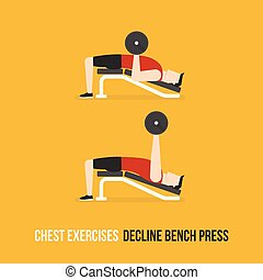 Chest Exercises. Decline Bench Press. Flat Design...