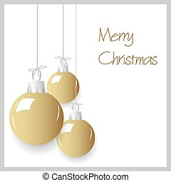 shiny gold color christmas decoration baubles hanging eps10