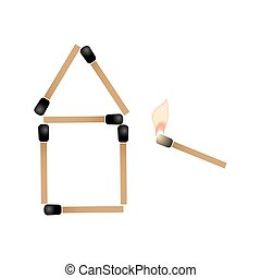 simple house made of matches and burning match trying ignite roof eps10