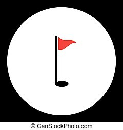 golf sport hole simple black and red icon eps10
