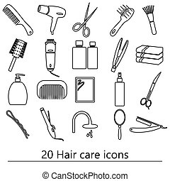 hair care theme black simple outline icons set eps10