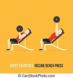 Chest Exercises. Incline Bench Press. Flat Design...