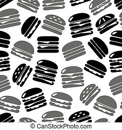 hamburgers types fast food icons seamless black and gray...