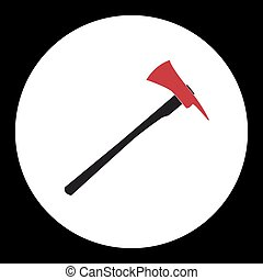 red and black fire brigade axe simple isolated icon eps10
