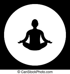 black meditation of man silhouette simple isolated icon eps10