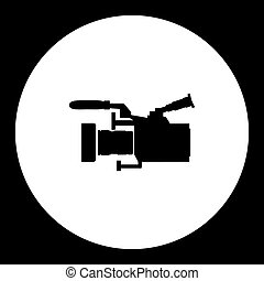 professional digital camcoder isolated black icon eps10