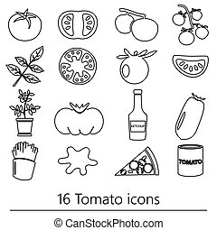 tomatoes theme black simple outline icons set eps10