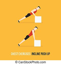 Chest Exercises. Incline Push Up. Flat Design Bodybuilder...