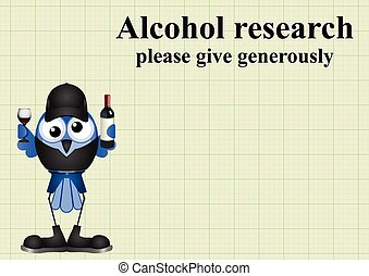 Alcohol research on graph paper background with copy space...
