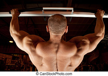 bodybuilder back in training room - bodybuilder back pull-up...