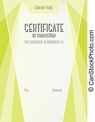 Modern Certificate of completion Vector template - Vertical...