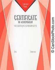 Modern Certificate of Achievement Vector template -...