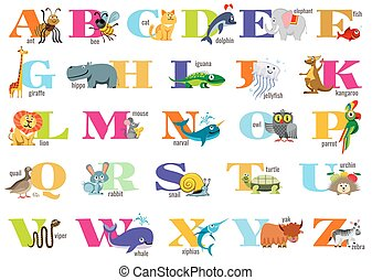 English alphabet for children with cute animals. Vector...