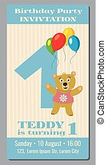 Birthday party invitation card with cute bear vector template 1 year old