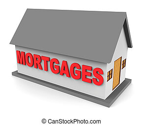 House Mortgages Represents Housing Loan And Buying 3d...