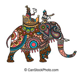 Indian maharajah on the elephant colored - Ethnic Indian...