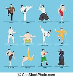Asian martial arts vector illustration. Karate and kung fu,...