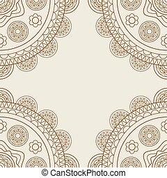 Boho floral mandalas frame in brown over beige Vector...