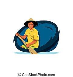 Vector Traditional Vietnamese boat Cartoon Illustration. - A...
