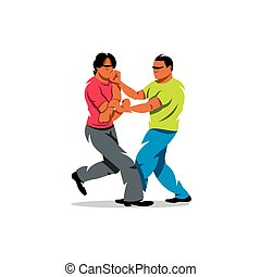Vector Wing Chun kung fu sparring Cartoon Illustration. -...
