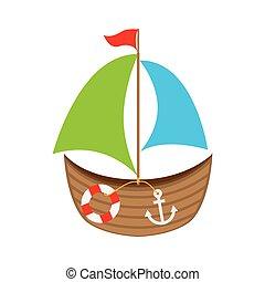 ship boat toy kids vector illustration design