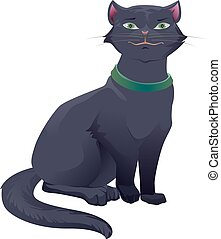 Black cat with green eyes sitting. Isolated on white vector...
