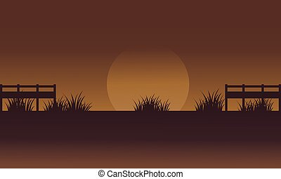 Silhouette of fields with grass vector