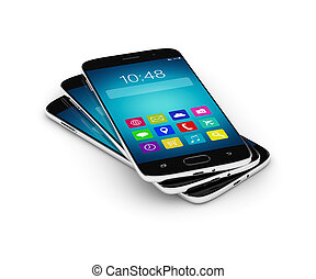 3d rendering of mobile phones stack isolated over white