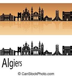 Algiers skyline in orange background in editable vector file