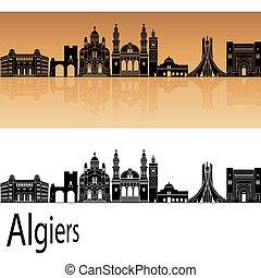 Algiers skyline in orange background in editable vector file
