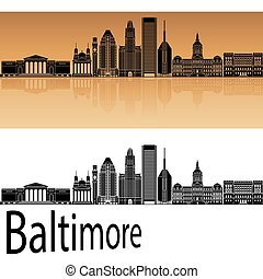 Baltimore skyline in orange background in editable vector...