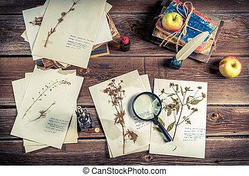 Vintage biology student desk