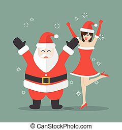 Santa claus and Santa woman