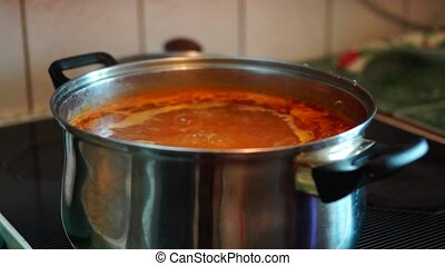 Boiling soup on stove - Boiling borsch soup on kitchen stove