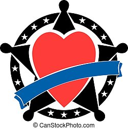 Sherif badge with heart - Sherifs badge with heart and blue...