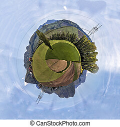 Miniature planet of valley between mountains - Miniature...