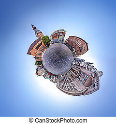 Skyline of Riga old town - 360 degree Tiny planet Skyline...