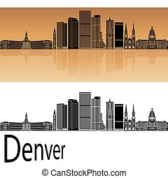 Denver skyline in orange