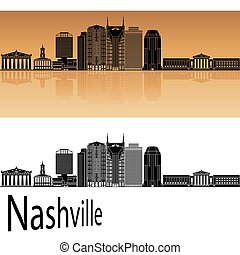 Nashville skyline in orange background in editable vector...