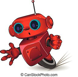 Red robot speed in a bend - Illustration red robot speed in...