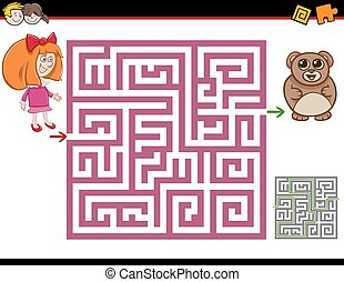 maze activity task - Cartoon Illustration of Education Maze...